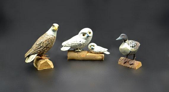 Vintage Wood Bird Carvings, Eagle, Owls, Loon, Miniature Birds