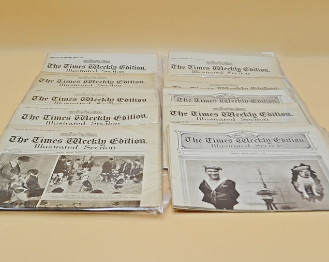 9 Editions Of 'The Times Weekly Edition Illustrated Section' Newspaper, Vintage English Newspaper, 1919-1920's Ephemera