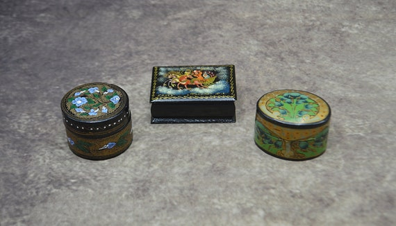 Three Trinket Pill Boxes, Russian Lacquer, Kashmir India