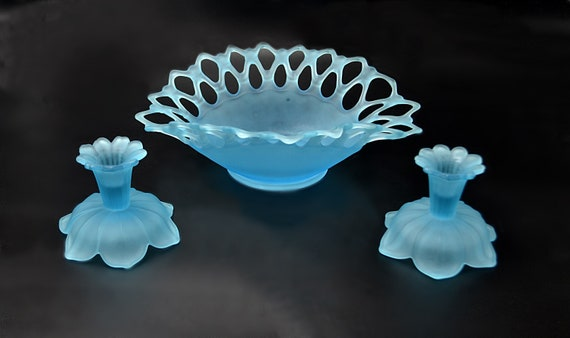 Westmoreland Frosted Blue Glass Bowl And Candle Holders