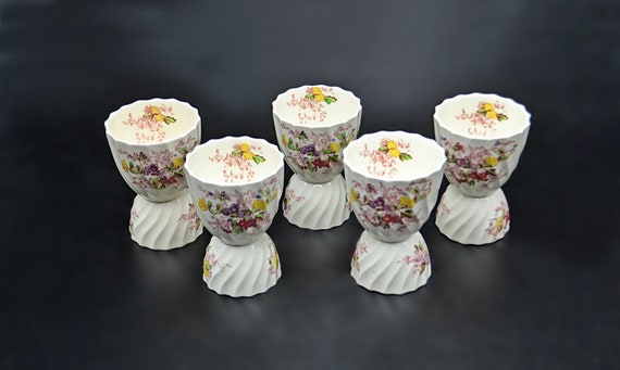 Copeland Spode Fairy Dell Double Egg Cups, Vintage Floral Egg Coddlers