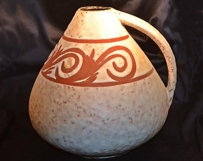 West German Pottery Vase, Large Pottery Pitcher, Vintage Pottery