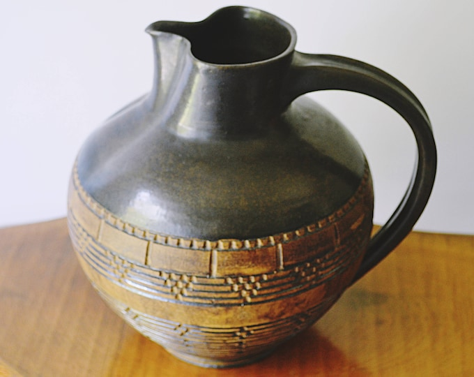 Pottery Pitcher, Artist Signed Pottery Jug, Rustic Decor