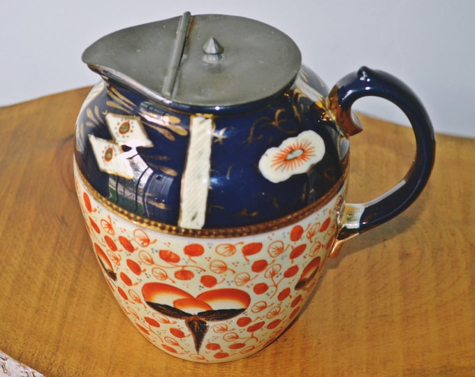 Antique Gaudy Welsh Pitcher, Jug With Pewter Lid, Syrup Pot