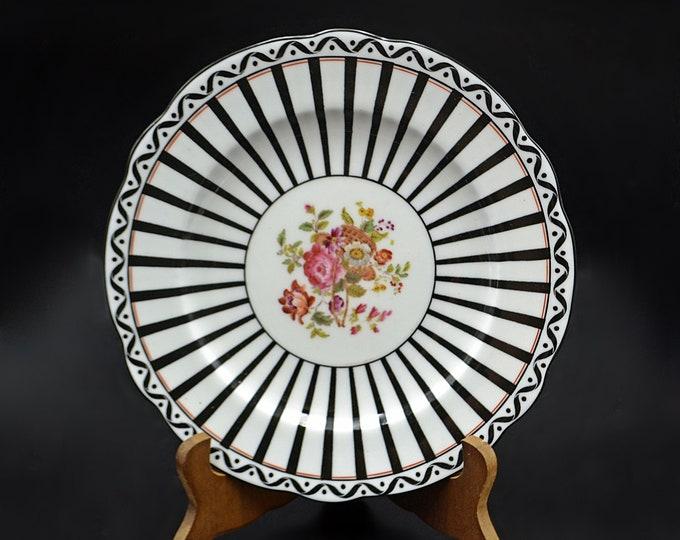 Set Of 4 Antique Coalport Art Deco Plates, Black And White Striped, Floral Bouquet