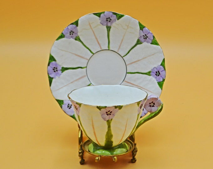 Atlas Grimwades Flower Teacup And Saucer, Art Deco China, Mauve Flower Handled Tea Cup