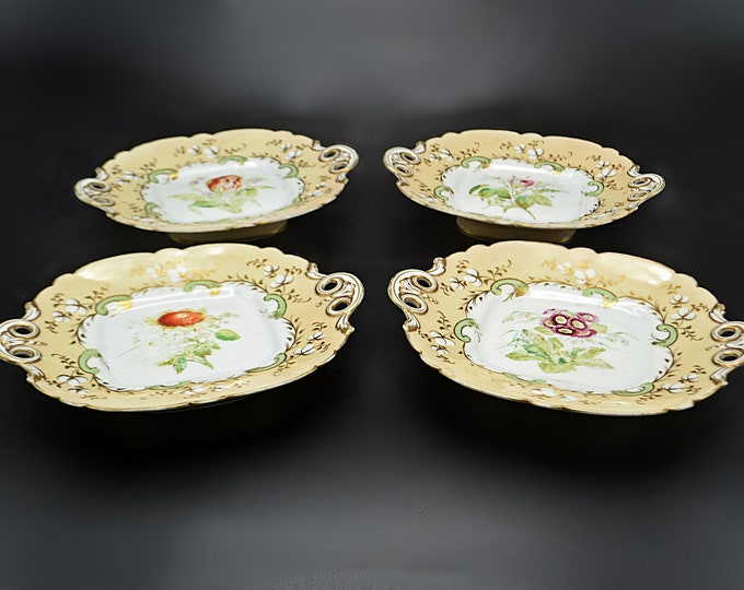 Antique Twin Handled Serving Dishes, Footed Plates