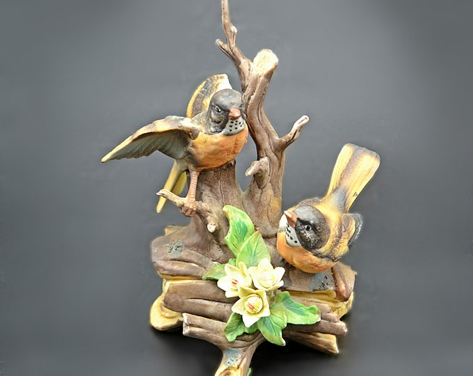 Vintage Bisque Bird Figurine, Robins On Tree Branch