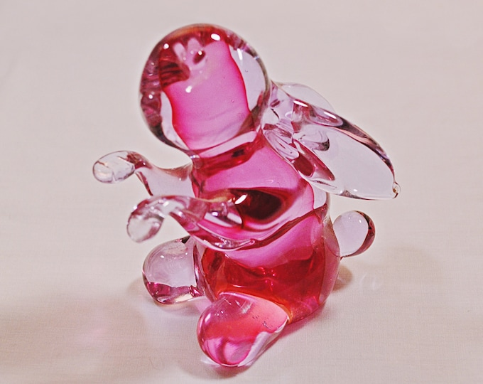 1950's Archimede Seguso, Mid-Century Murano Glass, Bunny Rabbit, Blown Glass, Pink And Clear