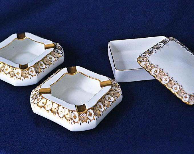 Royal Crown Derby Ashtray Set, Cigarette Box, Heraldic Gold, Collectible Porcelain, 1960's Mid Century China