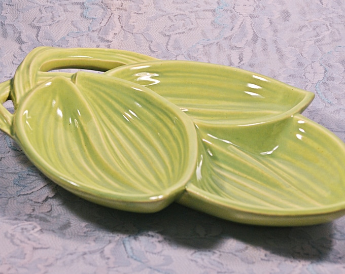 McCoy Leaf Dish, Three Section Vegetable Dish, Mid Century Pottery, Made In U.S.A
