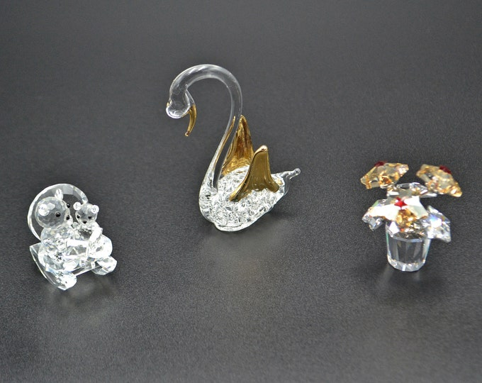 Vintage Crystal And Glass Miniature Figurines, Swan, Rocking Chair Teddy Bears, Flower Pot