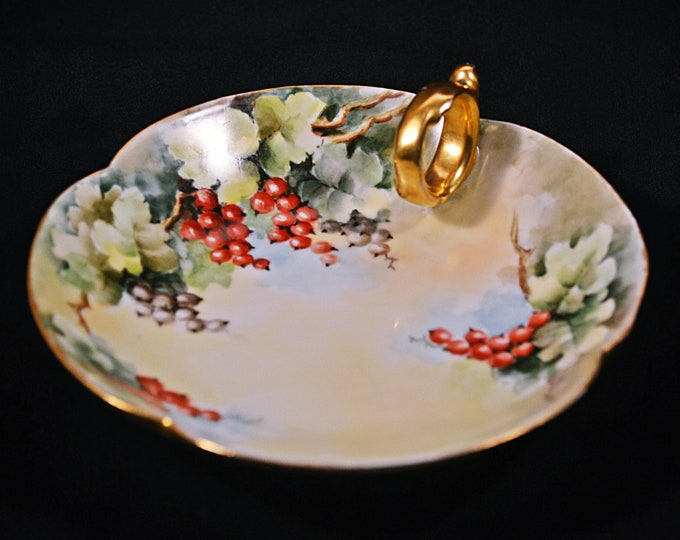 Antique T&V Limoges France, Tressemann And Vogt, Candy Dish, Handled Mint Dish, Trinket Plate