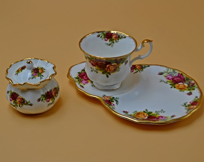 Royal Albert Old Country Roses Tennis Set, Floral Cup And Saucer and Small Lidded Jar