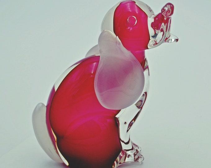 Blown Glass Dog Figurine, Heavy Glass Art