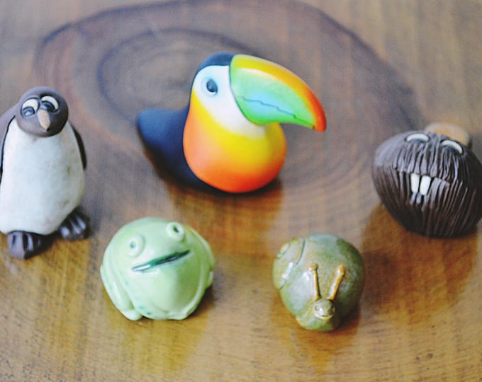 Animal Miniatures Collection, Whimsical Animal Figurines, Stocking Stuffers, Toucan, Beaver, Penguin, Frog, Snail