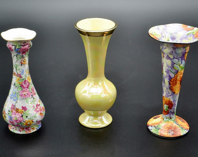 Three Cabinet Vases, Small Vases, Chintz, Lusterware, Crown Ducal, Lord Nelson