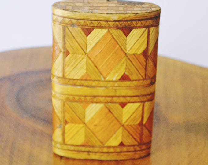 Antique Straw Cigarette Case, Straw Marquetry Card Holder