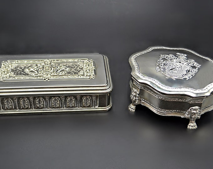 Two Silver Plate Jewelry Boxes, Trinket Boxes