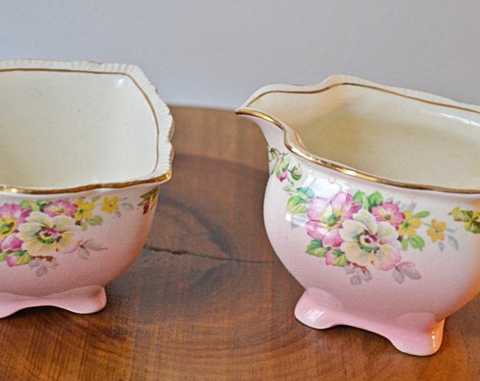 Creamer And Sugar Bowl, Royal Winton Grimwades, Apple Blossom Pink