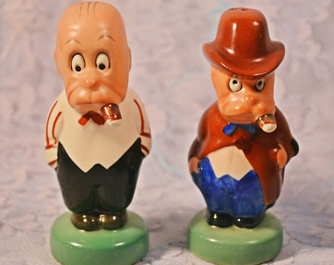 Silent Sam Adamson Salt And Pepper Shakers, 1950's Character Shakers