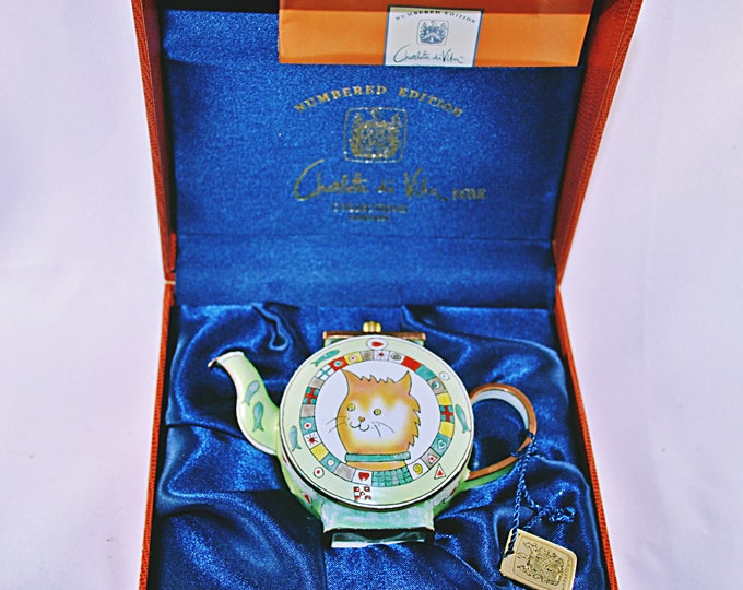 Charlotte Di Vita Whiskers Teapot, Trade Plus Aid Collectible Miniature, Numbered Edition Collectible, Orange Cat Miniature