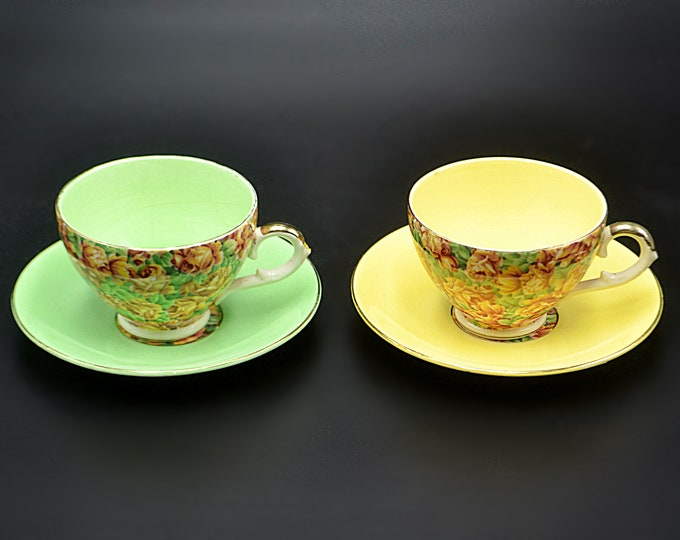 Two Royal Leighton Ware Chintz Teacups And Saucers, Yellow Teacup, Green Teacup
