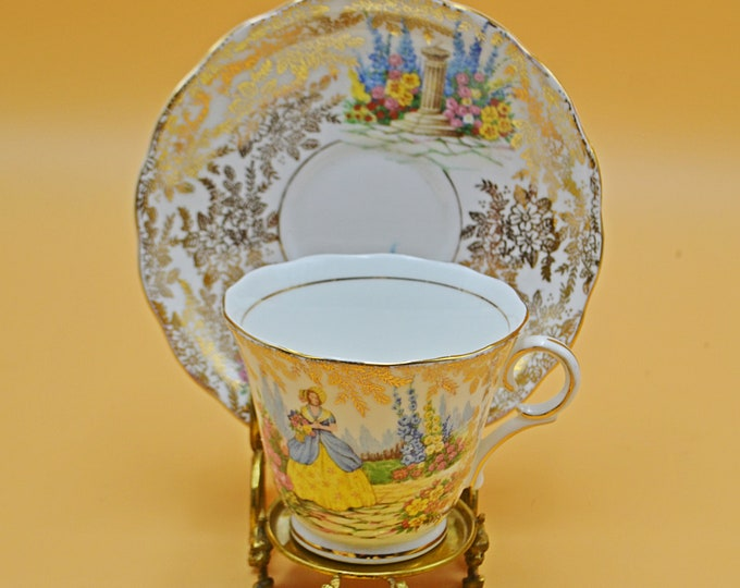 Colclough Teacup And Saucer, Crinoline Lady