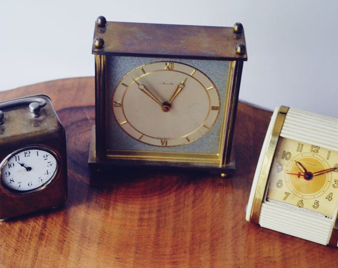 Three Vintage Desk Clocks, Non-Working, For Repair Or Parts Alarm Clocks, Mauthe, Westclox