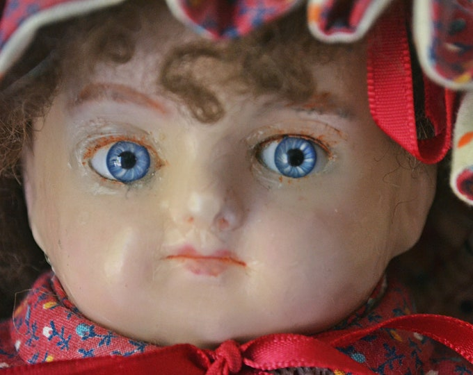 Antique Wax Head Doll, 1800's Collectible Doll