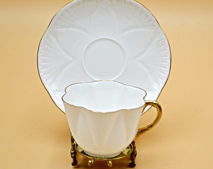 Shelley Teacup And Saucer, Regency Pattern, White And Gold