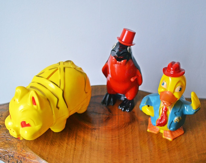 3 Plastic Coin Banks, Piggy Bank, Penguin Bank, Donald Duck Bank, Reliable Toy Company, Eppy & Co