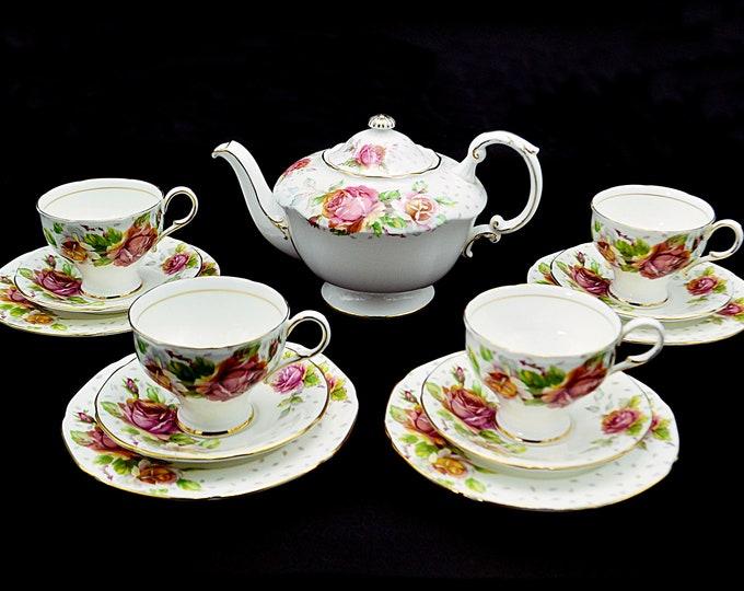 UPDATED Paragon Golden Emblem Tea Set, Teapot And Four Cup And Saucer Trios