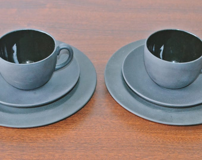 Vintage Wedgwood Basalt Cups And Saucers, Two 3 Piece Settings, Matte Black, Tea Cups, Saucers, Plates
