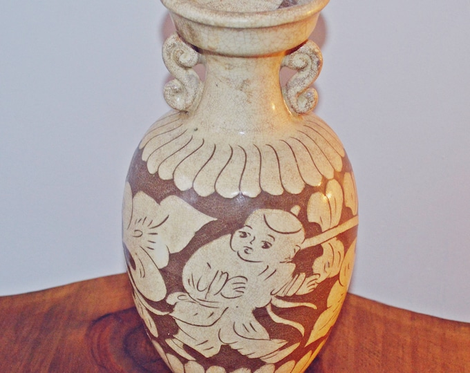 Beige And Brown Stoneware Vase, Cizhou Style, Antique Double Handled Vase