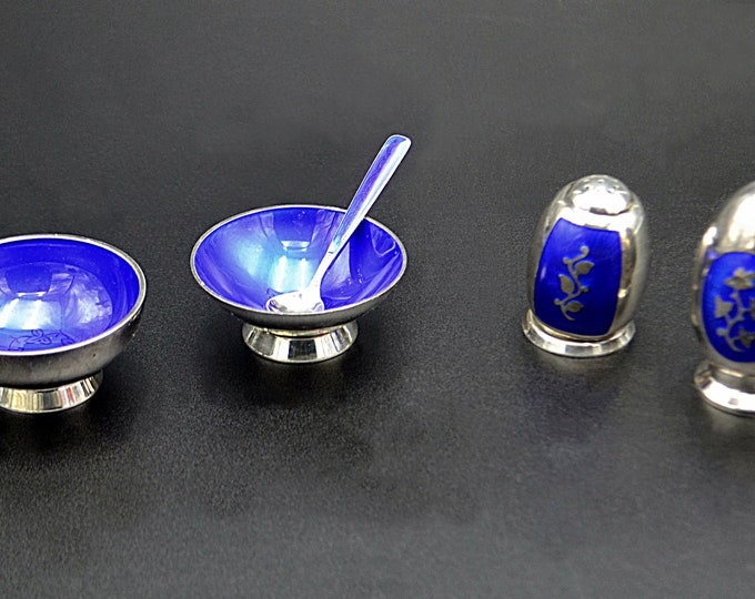 Danish Volmer Bahner Sterling Silver And Enamel Salt Cellars And Pepper Shakers, Royal Blue, Mid Century
