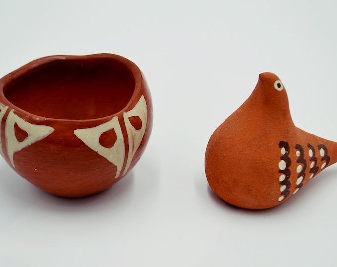 Southwestern Clay Bowl And Bird, Santo Domingo Pottery, Santa Fe Pottery, Vintage Pottery