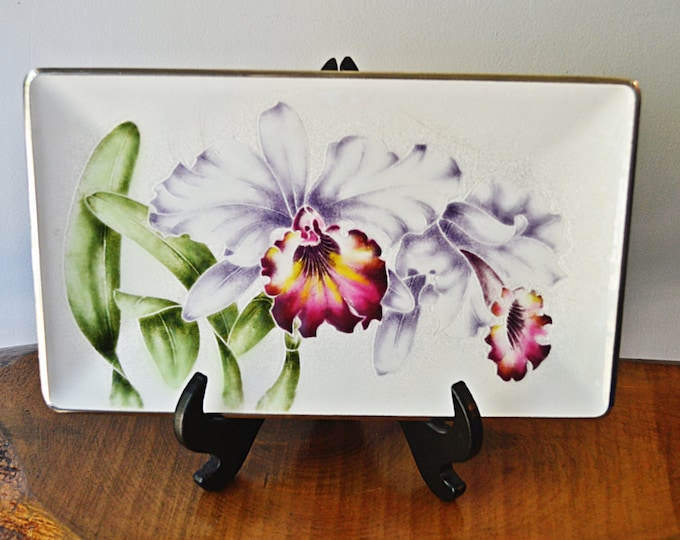 Japanese Tray, Tutanka Enamel Metal Purple Iris Plate, Jewelry Tray