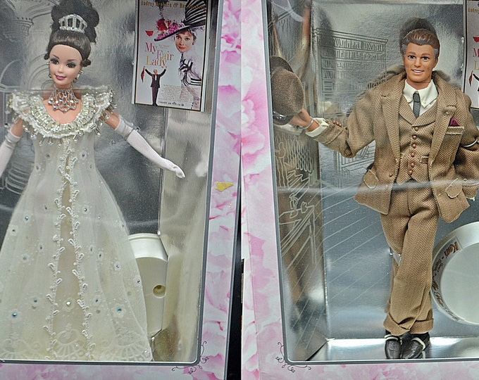 My Fair Lady Ken And Barbie With Boxes And Stands, Barbie As Eliza Doolittle, Ken As Henry Higgins, Barbie Collectibles