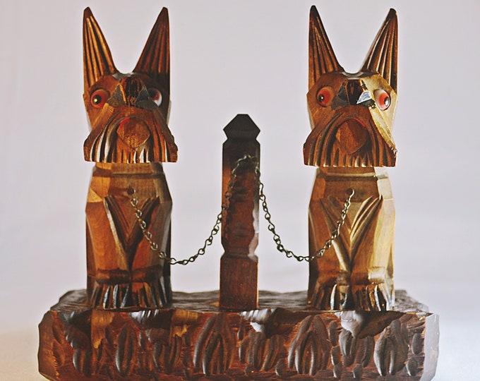 Wood Carved Scottie Dogs, Scottish Terrier Wood Carving, Folk Art Carving