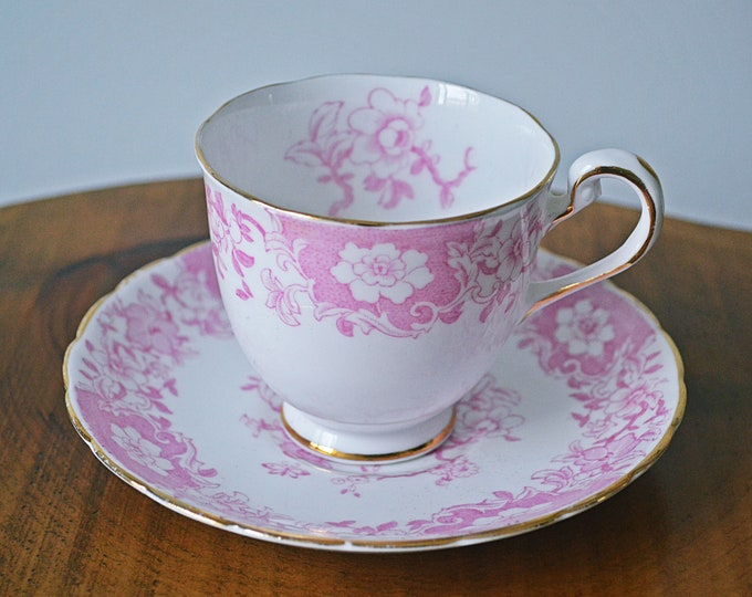 Royal Chelsea Pink And White Teacup And Saucer, Willow Hall