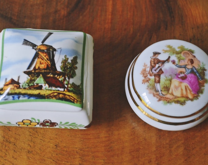 2 Porcelain Trinket Boxes, Small China Boxes, Delftware Box
