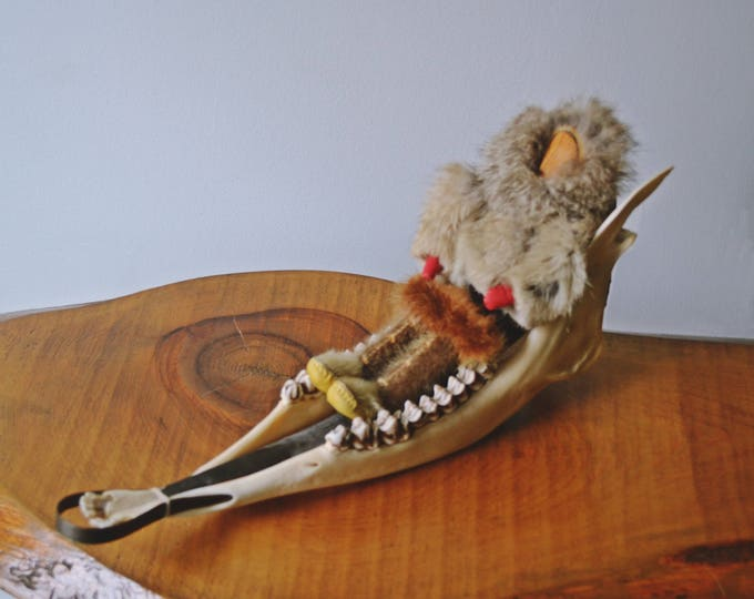 Caribou Jawbone  Dog Sled, With Doll, Vintage Inuit Art