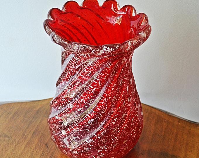 Murano, Cranberry Ribbed Vase With Silver Flecks, Art Glass, Italian Glass