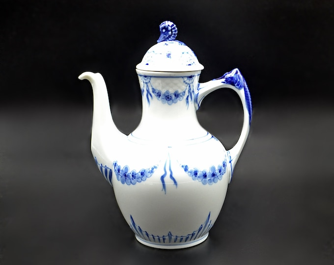 Bing And Grondahl Teapot, Blue And White, Seahorse Coffee Pot, Danish China, Royal Copenhagen