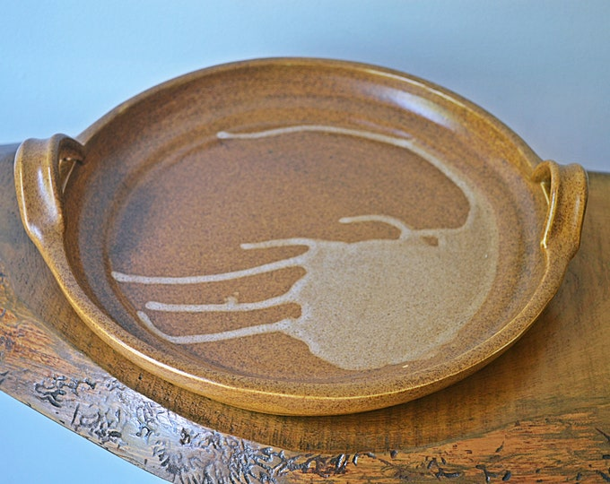 Pottery Serving Plate With Handles, Light Brown Abstract Tray