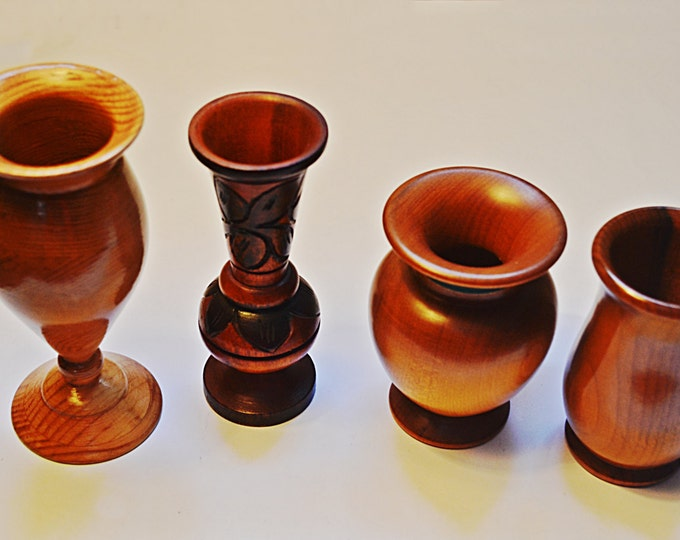 Four Wooden Vases Candle Holders, Hand Turned Wooden Vase, Hand Made By Artists World Wide, Wooden Candle Holders, Art Candle Holders