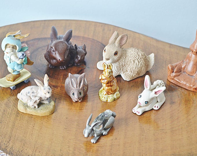 Bunny Collection, Herd Of 9 Rabbits, Collectible Figurines, Russ Berrie, Manon Pewter With Swarovski Crystal, Adopt-A-Pet