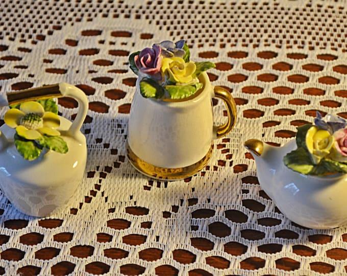 Miniature Teapots, Miniature Pitcher, Sandford Bone China