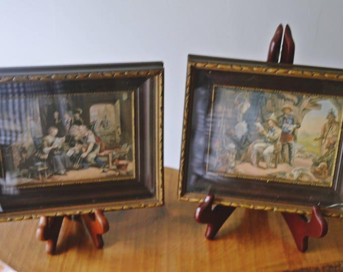 2 George Baxter Prints, Antique Prints in Frames, 1800's Prints
